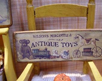 Antique Toys  Miniature Wooden Plaque 1:12 scale