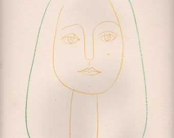 Vintage Lithograph  Pablo Picasso Drawing   , slightly damaged