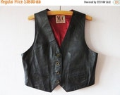 SALE Vintage 90s Black Leather Vest Womens Steampunk Vest Genuine Leather Vest Cropped Waistcoat Biker Motorcycle Large Size Vest