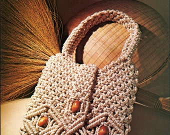 Macrame (14 Designs) PURSES + EYEGLASS CASE Pattern Book - Macramed Handbags - Some with Wooden Handles Original Not a Pdf Kenyon Books