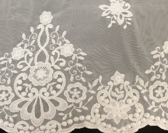 Ivory Adriana Embroidered Double Border Scallop Edge Lace Fabric 574-LACE-EMB-IVORY