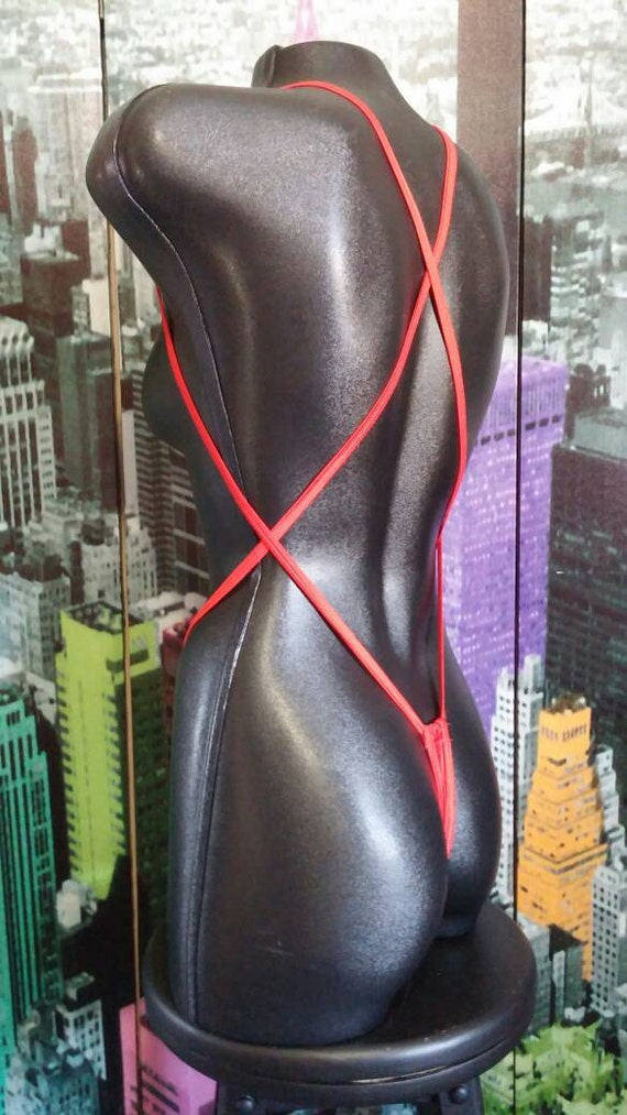 stripper thong / over the shoulder slingshot thong with criss cross back / stripper wear / thong / exotic dancer / exotic dance wear / dance