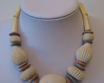 Vintage 80's Costume Jewelry Necklace Choker , Ceramic beads , Bone Tubular Beads,never worn