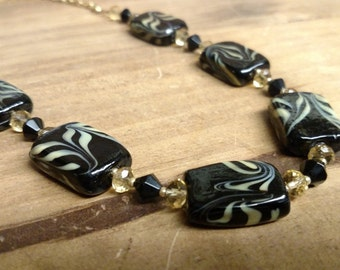 Black Lamp worked beaded Necklace