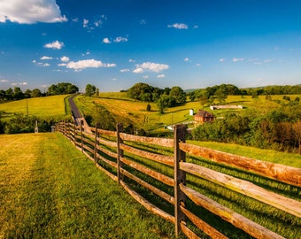 Fence and view of rolling hills and farmland in Antietam National Battlefield, Maryland.   Photo Print, Stretched Canvas, or Metal Print.