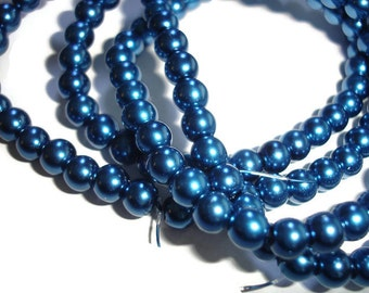 32 inch blue pearls strand 6mm 32 inch pearl supply beads glass pearls in deep dark blue 6mm glass beads classic pearls for jewelry making