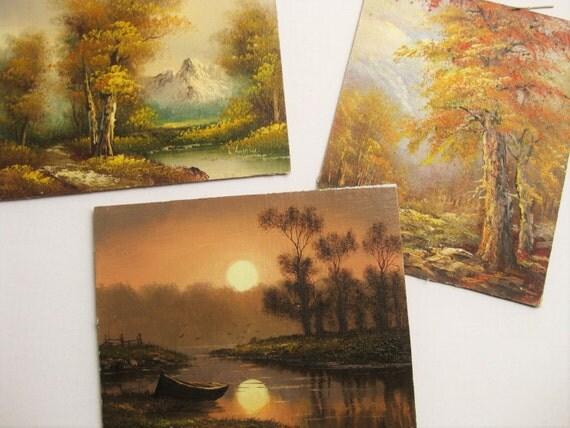 "Original landscape paintings. Three scenes. Original art, various artists. 10"" x 8"" each. Cabin art. Retro art."