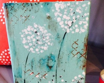Abstract original painting on wooden block