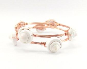 Sea Shell Bangle - Sea Shell Bracelet - Copper Bangle - Copper Stacking Bracelet - Summer Bracelet - Boho Bracelet - Beach Jewelry