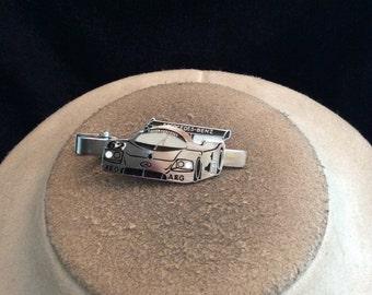 Vintage Mens Silvertone Enameled Race Car Tie Clip
