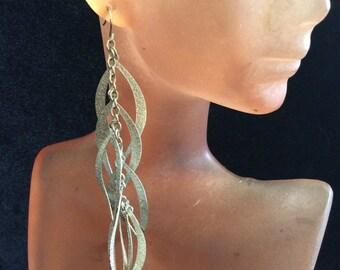 Vintage Long Silvertone Pierced Dangle Earrings