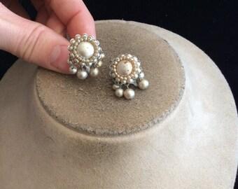 Vintage Signed Japan Dangling Faux Pearl Screw Back Earrings