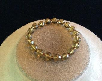 Vintage Brown Glass Beaded Bracelet