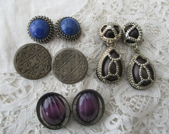 Vintage earrings x 4 clip ons