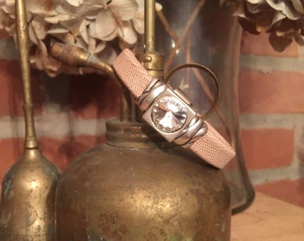 Beautiful Taupe Chunky Leather Bracelet with Large Swarovski Crystal - handmade