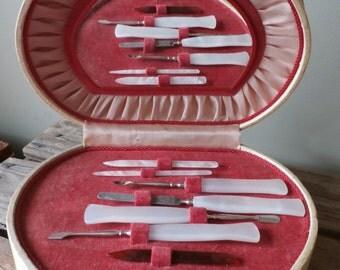 Vintage Reuge Heart Shaped Music Box Manicure Set