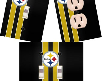 Pittsburgh Steelers Light switch wall plates covers NFL room decor football man cave bedroom bar decor