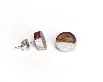 Wood Earring Studs - Gold Silver Wood Earrings, Laser Cut Earrings, Natural Jewelry, Wood Jewelry, Bohemian Jewelry, Gift for women