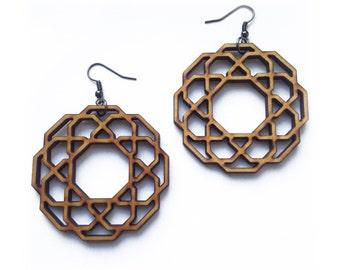 Hoops - Wooden Earrings, Laser Cut Jewelry, Hoop Earrings, Sacred Geometry, Wooden Jewelry, Angular Hoops, Wooden Hoops