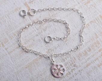 Silver snowflake bracelet sterling silver chain snowflake charm bracelet sterling silver 925 bracelet