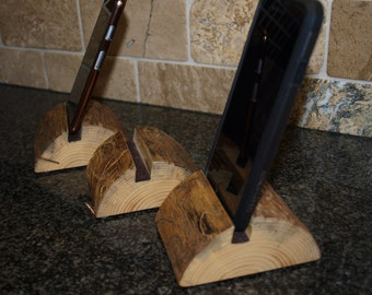 iPhone stand, Smart Phone Holder, Log Phone Stand