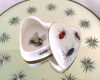 Heart Shaped Insect Theme Porcelain Trinket Box Princess Royale Bone China England