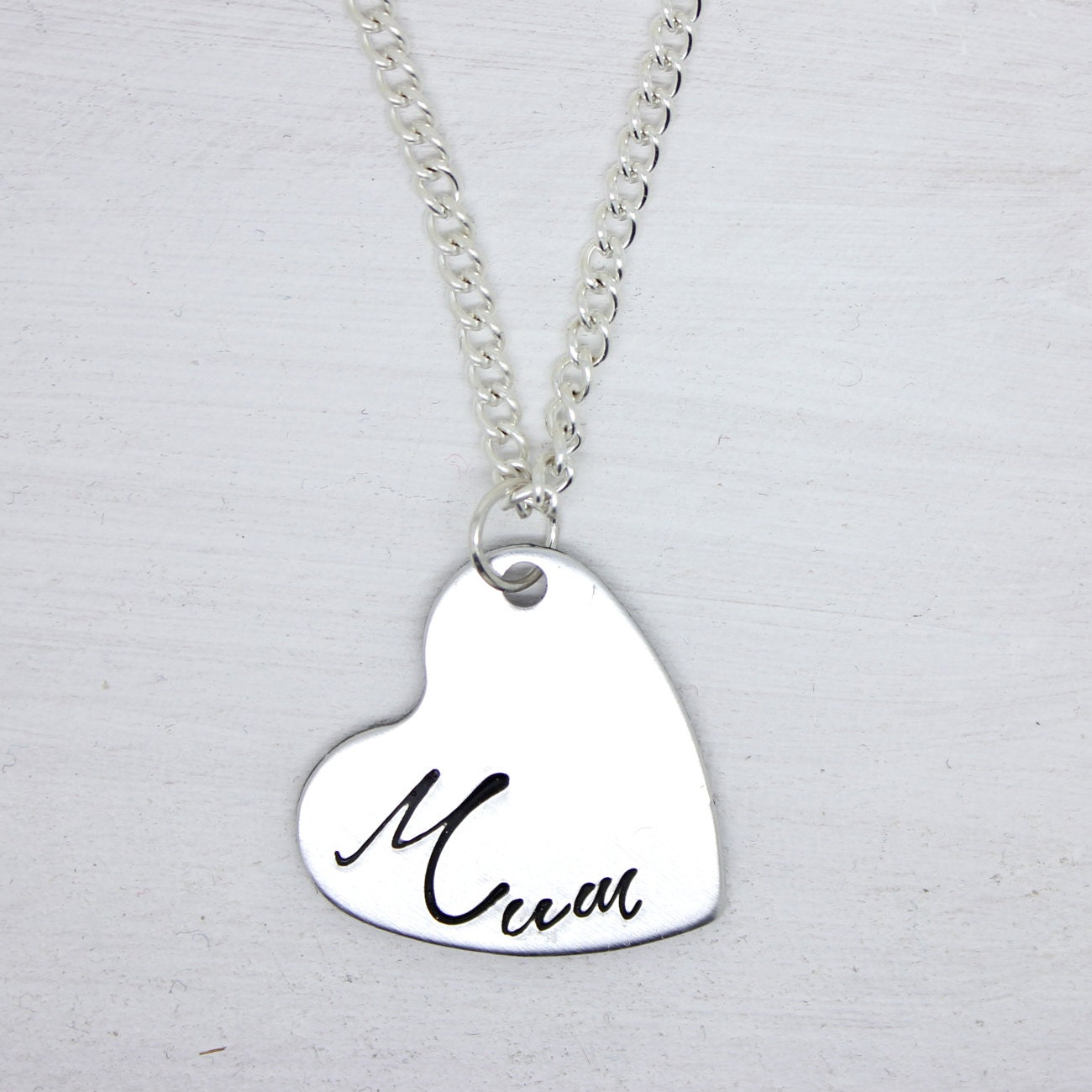 Handstamped Mum heart necklace - mothers day - birthday - christmas gift
