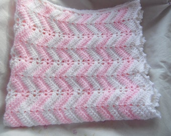 Chevron Baby Blanket, Crochet Newborn Baby Blanket, Handmade White and Pink Chevron Baby Blanket, Baby Gift, Chevron Blanket, Infant Blanket