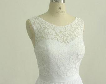 Short wedding dress etsy lovely white vintage tea length lace wedding dress short wedding dress sciox Choice Image
