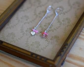 Earrings HERTE 925 Silver, heart & sea bamboo