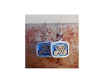Copper Enamel Earrings, Sterlin silver 925