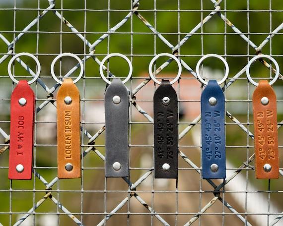 Latitude Longitude GPS leather key chain custom personalized ring monogram keychain boyfriend fob holder clip keyring engraved gift