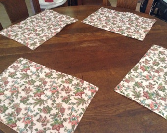 Handmade set of 4 quilted pink floral design place mats.