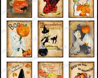 9 Vintage Grunge Halloween Sheet ATC ACEO / Retro Children Digital Collage Sheet Tags Images—Printable Ephemera