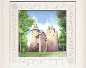 Castell Coch print  | Custom Wedding present | Handwritten Calligraphy | Welsh castle painting | Marriage gift | Welsh fairytale castle