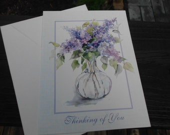 Vintage greeting card/vintage thinking of you card/thinking of you/friendship/family/feminine/blank card/flowers/purple/lilacs