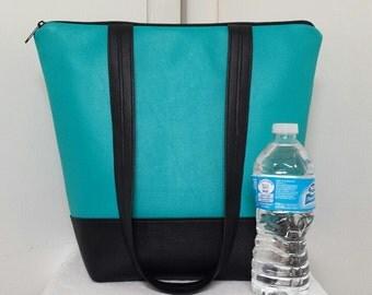 Large Insulated Lunch Bag,Full Vinyl with Vinyl Shoulder Straps,Turquoise/Black,Nylon Liner, Inner Zipper Pocket, Large Capacity, Purse.