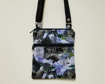 """Crossbody Purse, Wolves, Eagle, Call of The Wild, Front Lined Zipper Pocket, 68"""" Adjustable Strap. Long Over Shoulder Strap, Nylon Lining."""