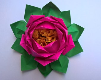 20 petals lotus with stamina, Paper Lotus flower, Water Lily  - You pick the color