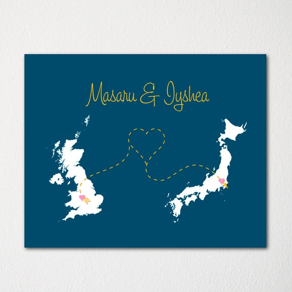 Map Art Wedding Gift : Wedding Map Art Print / Modern Art / Wedding Gift / Engagement Gift ...