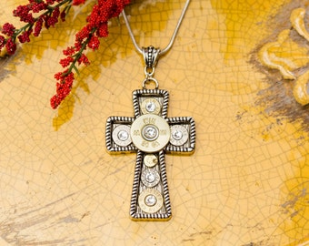 "Bullet Casing Jewelry - ""Make a Statement"" Cross Bullet Pendant Filled w/ Bullets Necklace"