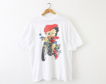 XLARGE Vintage 1990s Betty Boop Motorcycle Soft and Thin Graphic T-Shirt