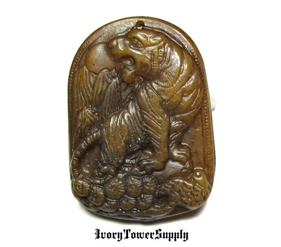 Carved jade tiger pendant bead focal bead oval bead green carved jade tiger pendant bead focal bead oval bead green pendant carved jade beads carved jade pendants natural stone pendant bead from mozeypictures Images
