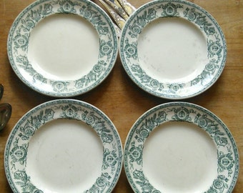 4 pc Dinner Plates Faience Green and White Talma Floral Bees Cristaux Terre de Fer Paris Ironstone