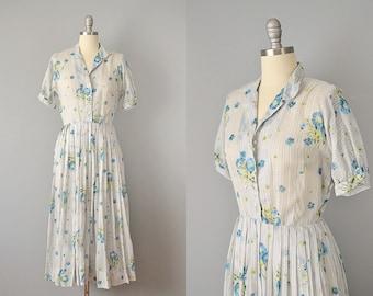 50s Dress // 1950's L'Aiglon Striped Floral Cotton Day Dress // M - L
