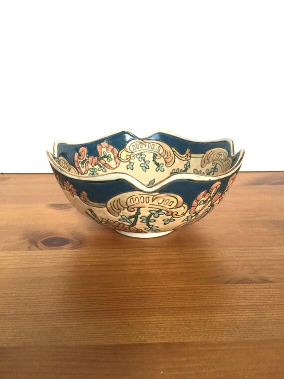 Vintage Toyo bowl decorative ceramic dish floral relief pattern flowers