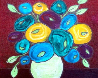 BUTTON BLOOMS I, Abstract, Quirky, Flowers, Original, Handmade Painting, Living Room, Art Decor