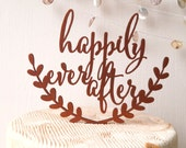 Happily ever after wedding cake topper, wooden cake topper, rustic wedding cake topper, cake topper