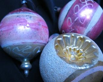 Three Vintage Glass Christmas Ornaments