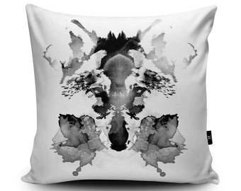 Wolf Pillow, Wolf Cushion, Rorschach Cushion, Rorschach Pillow, Animal Cushion, Animal Pillow, 18x18 inch, 45cm Faux Suede Cushion